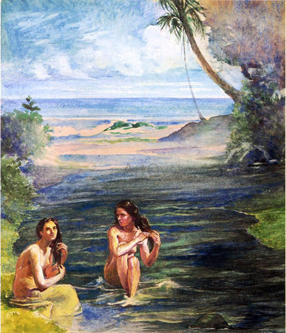John La Farge Women Bathing in Papara River - Hand Painted Oil Painting