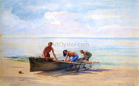 John La Farge Women Drawing up a Canoe, Vaiala in Samoa, Otaota, Her Mother and a Neighbor - Hand Painted Oil Painting
