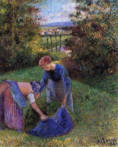Camille Pissarro Women Gathering Grass - Hand Painted Oil Painting