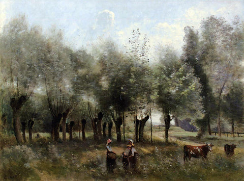Jean-Baptiste-Camille Corot Women in a Field of Willows - Hand Painted Oil Painting