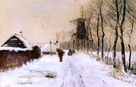 Louis Apol Wood Gatherers On A Country Lane In Winter - Hand Painted Oil Painting