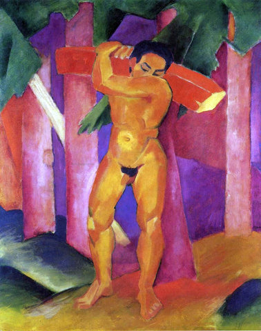 Franz Marc Woodcutter - Hand Painted Oil Painting