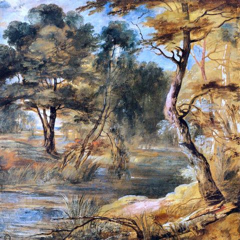 Jacques Fouquier Wooded Landscape with a Stream - Hand Painted Oil Painting