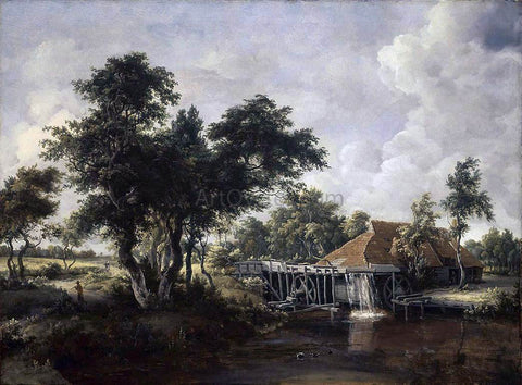Meyndert Hobbema Wooded Landscape with Water Mill - Hand Painted Oil Painting
