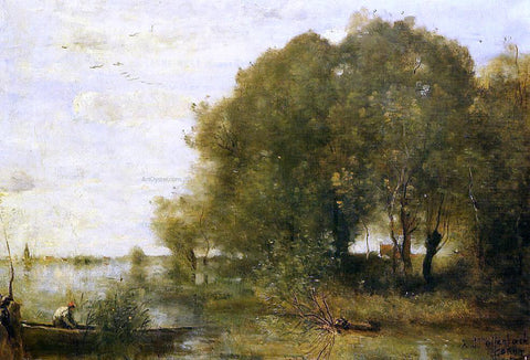 Jean-Baptiste-Camille Corot Wooded Peninsula - Hand Painted Oil Painting
