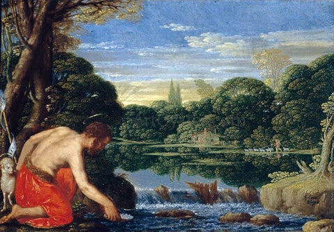 Johann Konig Wooded River Landscape with St John the Baptist - Hand Painted Oil Painting