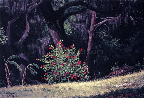 William Aiken Walker Woodland Scene with Red-Flowered Bush - Hand Painted Oil Painting