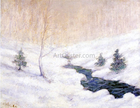 John Twachtman Woodland Stream in a Winter Landscape - Hand Painted Oil Painting
