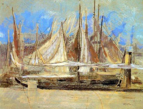 Odilon Redon Yachts at Royan - Hand Painted Oil Painting