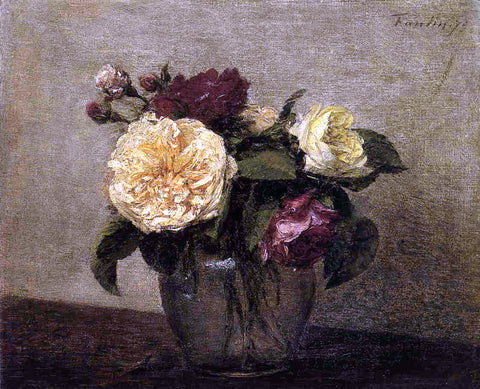 Henri Fantin-Latour Yellow and Red Roses - Hand Painted Oil Painting