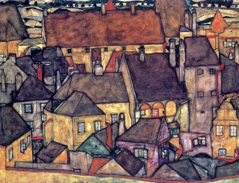 Egon Schiele Yellow City - Hand Painted Oil Painting