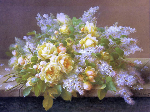 Raoul Paul Maucherat De Longpre Yellow Roses and Lilacs - Hand Painted Oil Painting