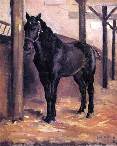 Gustave Caillebotte Yerres, Dark Bay Horse in the Stable - Hand Painted Oil Painting
