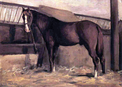 Gustave Caillebotte Yerres, Reddish Bay Horse in the Stable - Hand Painted Oil Painting
