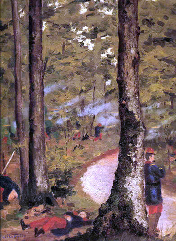 Gustave Caillebotte Yerres, Soldiers in the Woods - Hand Painted Oil Painting