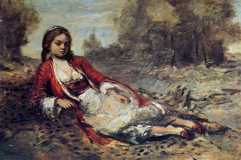 Jean-Baptiste-Camille Corot Young Algerian Woman Lying on the Grass - Hand Painted Oil Painting