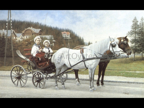 Karl Buchta Young Boys In A Horse-drawn Carriage - Hand Painted Oil Painting