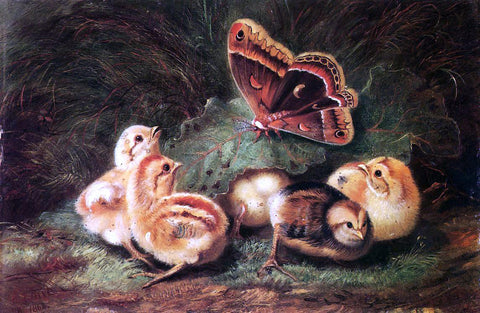 Arthur Fitzwilliam Tait Young Chickens - Hand Painted Oil Painting