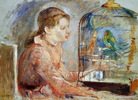 Berthe Morisot Young Girl and the Budgie - Hand Painted Oil Painting