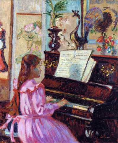 Armand Guillaumin Young Girl at the Piano - Hand Painted Oil Painting