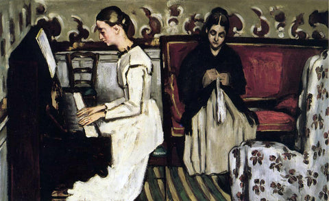 Paul Cezanne Young Girl at the Piano - Overture to Tannhauser - Hand Painted Oil Painting