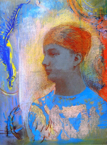 Odilon Redon Young Girl Facing Left - Hand Painted Oil Painting
