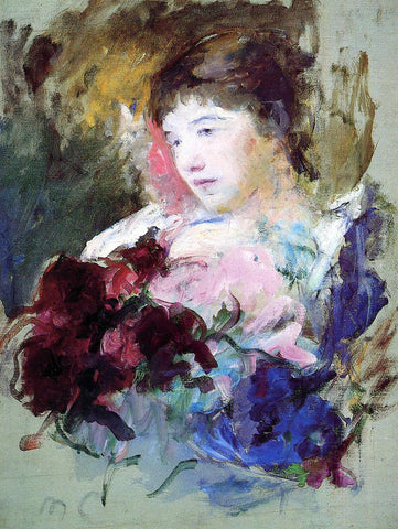Mary Cassatt Young Girl Holding a Loose Bouquet - Hand Painted Oil Painting