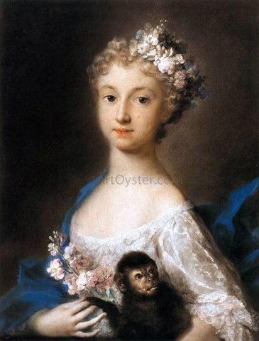 Rosalba Carriera Young Girl Holding a Monkey - Hand Painted Oil Painting