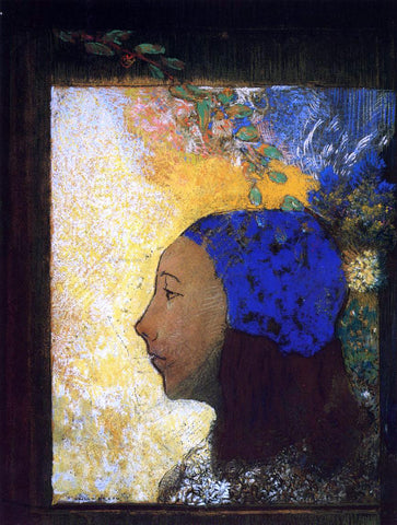 Odilon Redon Young Girl in a Blue Bonnet - Hand Painted Oil Painting