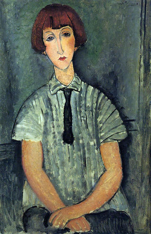Amedeo Modigliani Young Girl in a Striped Blouse - Hand Painted Oil Painting