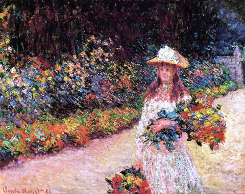 Claude Oscar Monet A Young Girl in the Garden at Giverny - Hand Painted Oil Painting
