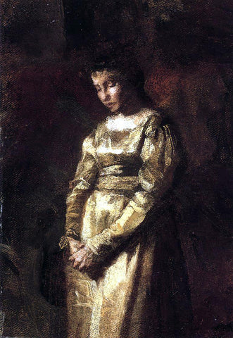 Thomas Eakins Young Girl Meditating (study) - Hand Painted Oil Painting