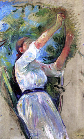 Berthe Morisot Young Girl Picking Cherries - Hand Painted Oil Painting