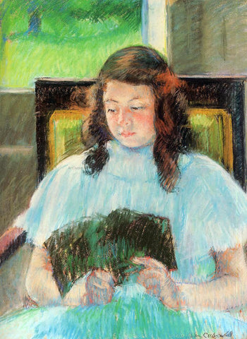 Mary Cassatt Young Girl Reading - Hand Painted Oil Painting