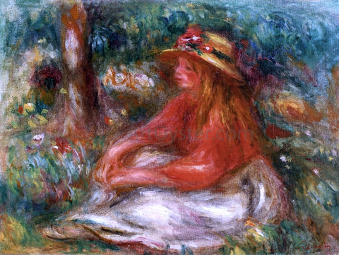 Pierre Auguste Renoir Young Girl Seated on the Grass - Hand Painted Oil Painting