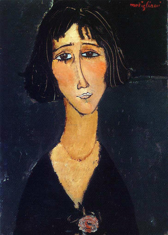 Amedeo Modigliani Young Girl Wearing a Rose - Hand Painted Oil Painting