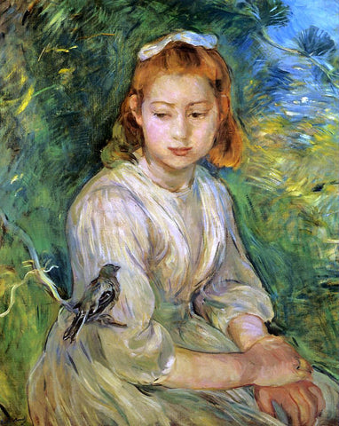 Berthe Morisot Young Girl with a Bird - Hand Painted Oil Painting