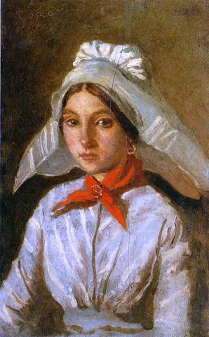 Jean-Baptiste-Camille Corot Young Girl with a Large Cap on Her Head - Hand Painted Oil Painting