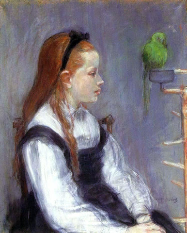 Berthe Morisot Young Girl with a Parrot - Hand Painted Oil Painting