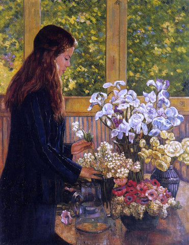 Theo Van Rysselberghe Young Girl with a Vase of Flowers - Hand Painted Oil Painting