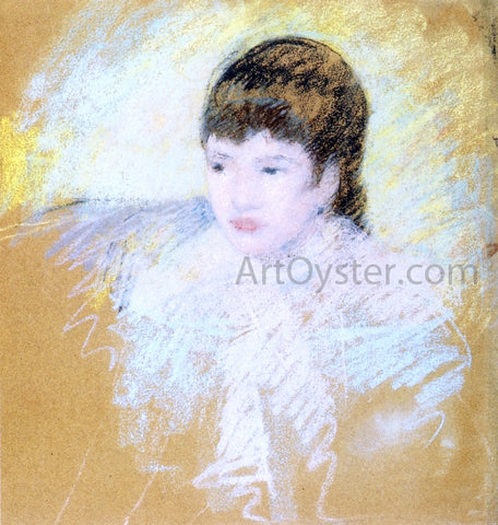 Mary Cassatt Young Girl with Brown Hair, Looking to Left - Hand Painted Oil Painting