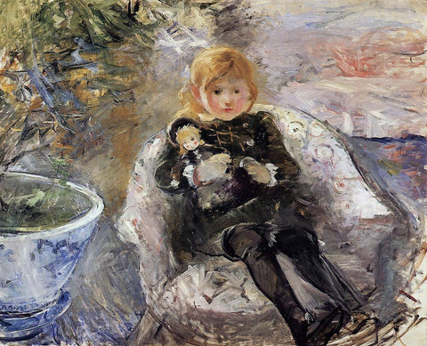 Berthe Morisot Young Girl with Doll - Hand Painted Oil Painting