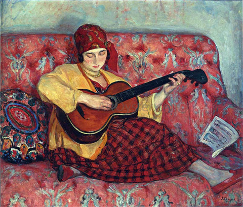 Henri Lebasque A Young Girl with Guitar - Hand Painted Oil Painting