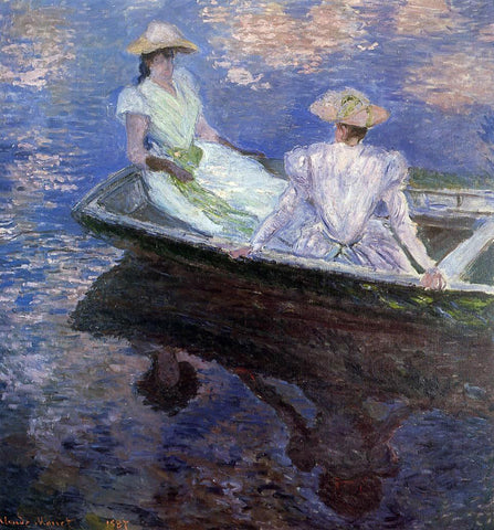 Claude Oscar Monet Young Girls in a Row Boat - Hand Painted Oil Painting