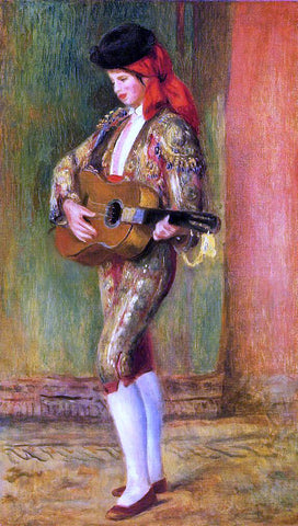 Pierre Auguste Renoir A Young Guitarist Standing - Hand Painted Oil Painting