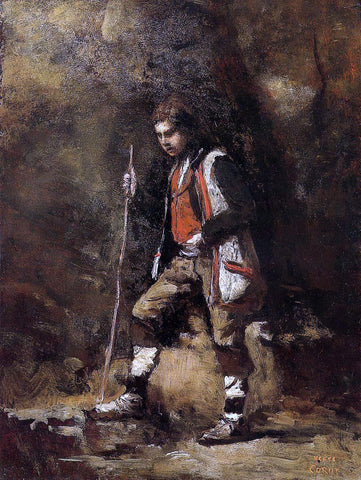Jean-Baptiste-Camille Corot Young Italian Patriot in the Mountains - Hand Painted Oil Painting