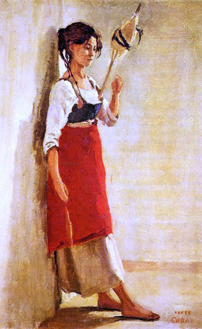 Jean-Baptiste-Camille Corot Young Italian Woman from Papigno with Her Spindle - Hand Painted Oil Painting