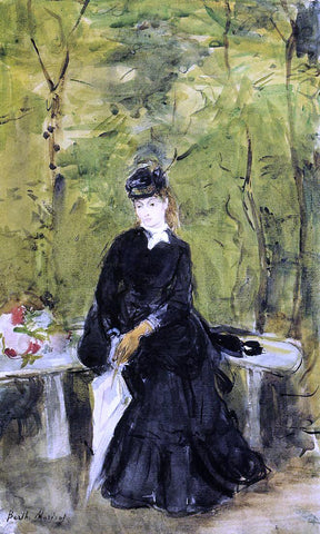 Berthe Morisot Young Lady Seated on a Bench - Hand Painted Oil Painting