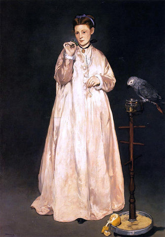 Edouard Manet Young Lady with a Parrot - Hand Painted Oil Painting