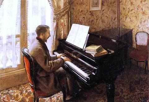 Gustave Caillebotte Young Man Playing the Piano - Hand Painted Oil Painting